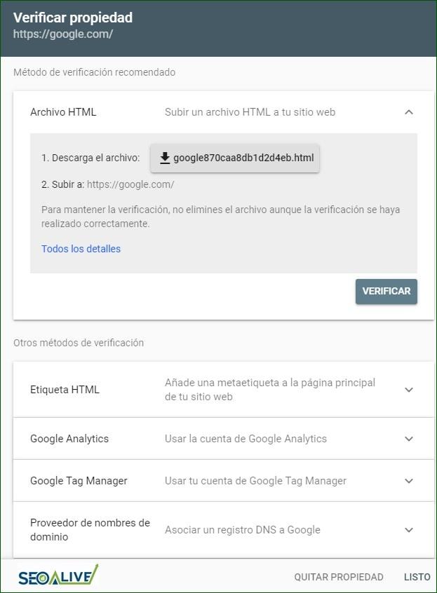 Etiqueta HTML Search Console