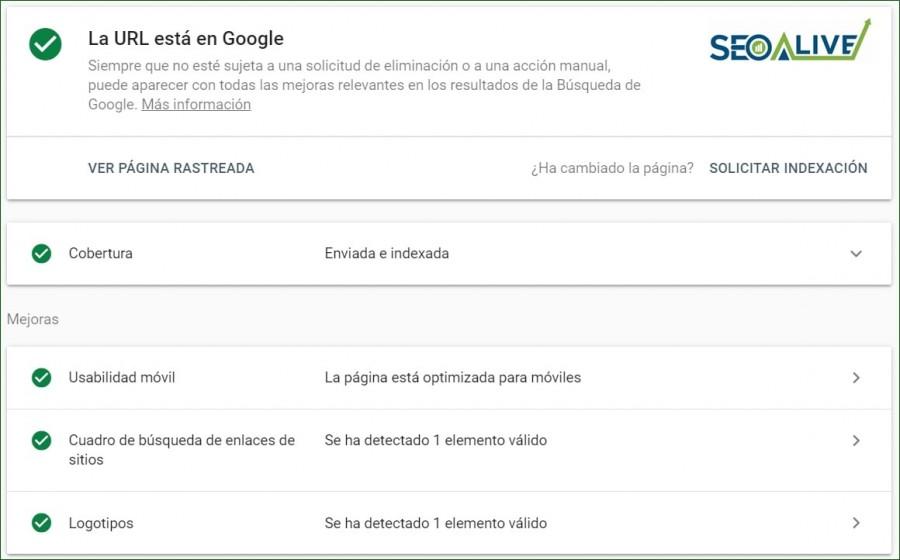 Inspeccionar URL Google SEO