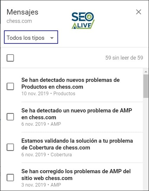 Notificaciones Google Search Console