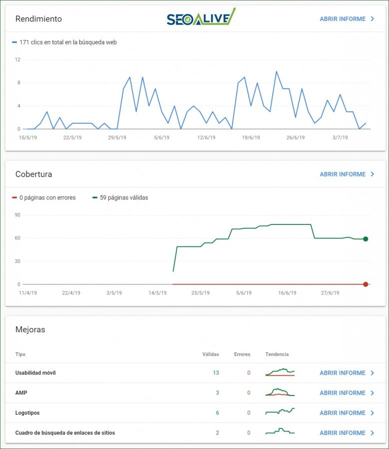 Panel Google Search Console