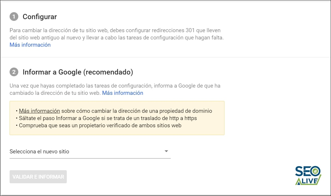 Redirecciones Search Console