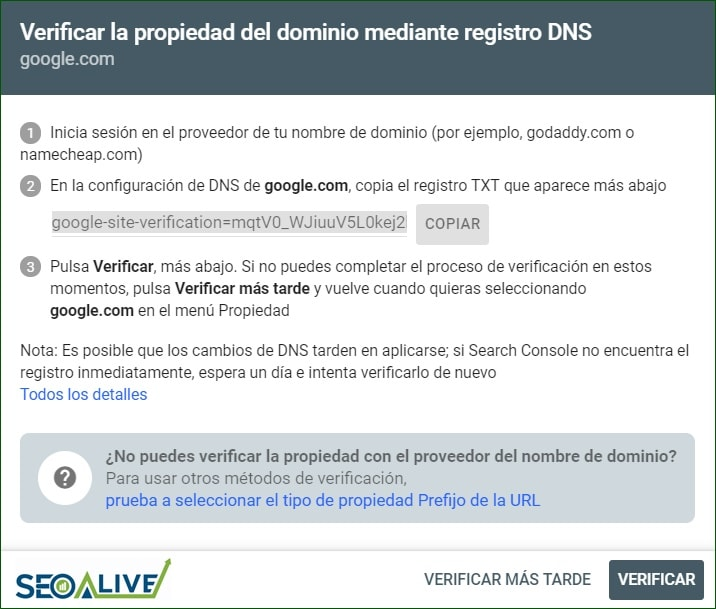 Verificar Dominio Google Search Console