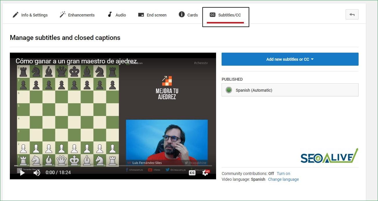 Subtítulos SEO Youtube
