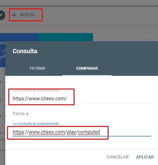 Comparar Urls Search Console