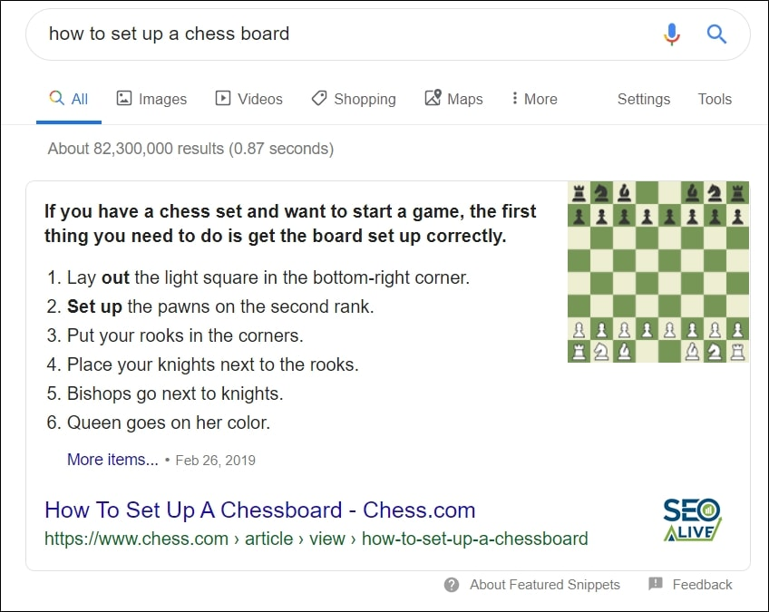 List Featured Snippet SEO
