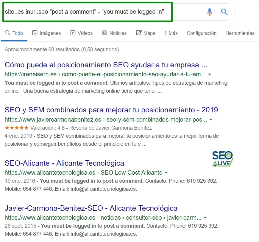 Filtros Búsquedas Google SEO