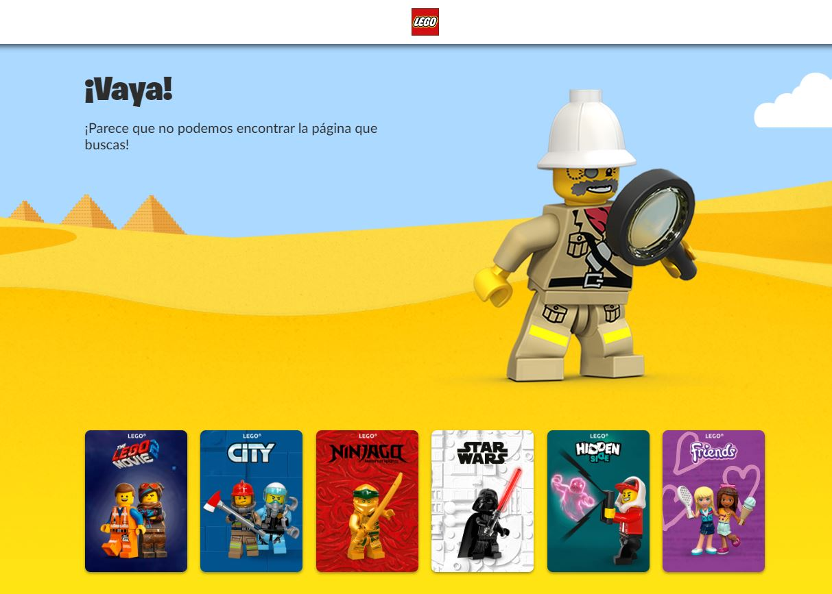 Página personalizada para mostrar el error 404 de Lego.