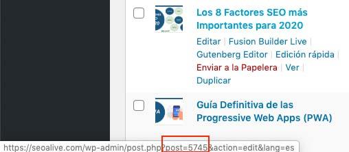 identificador de entradas y páginas en wordpress