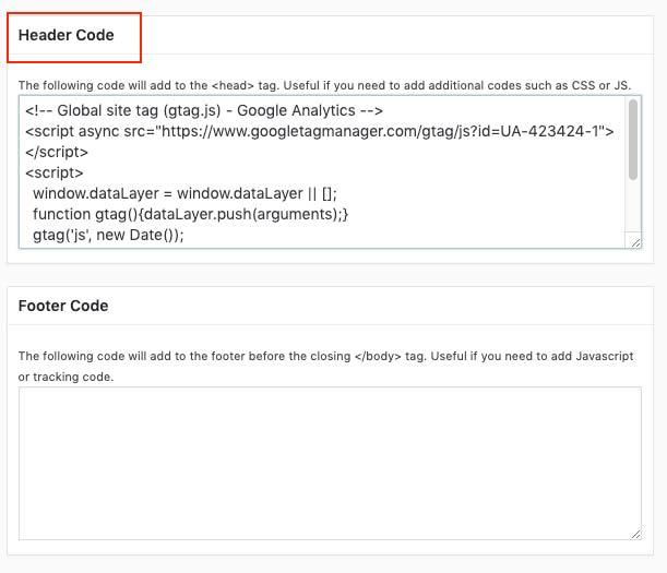 insertar código de google analytics