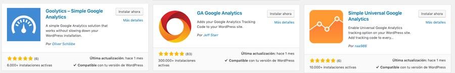 plugins para seguimiento google analytics