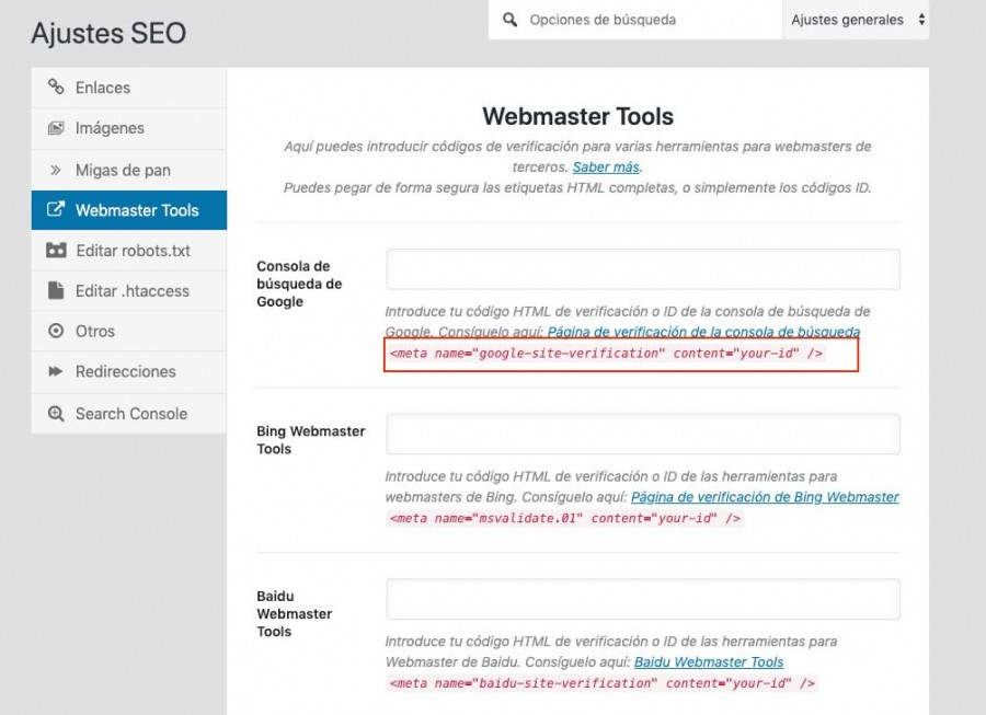 verificacion search console con rank math