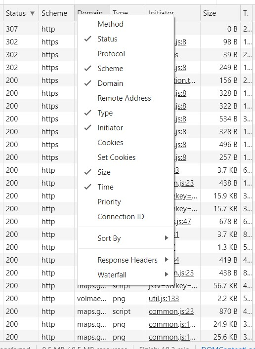 añadir y quitar elementos informativos en network