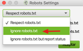 ignorar robots.txt en screaming frog