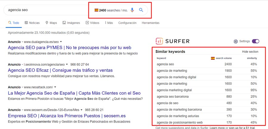 extension keyword surfer