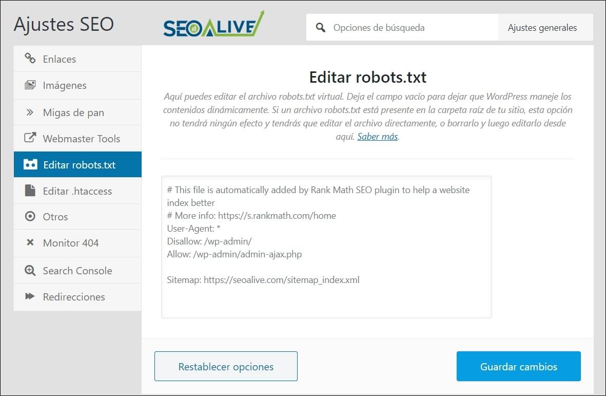 Robots TXT en WordPress