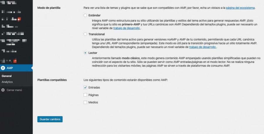 Ajustes de AMP para WordPress