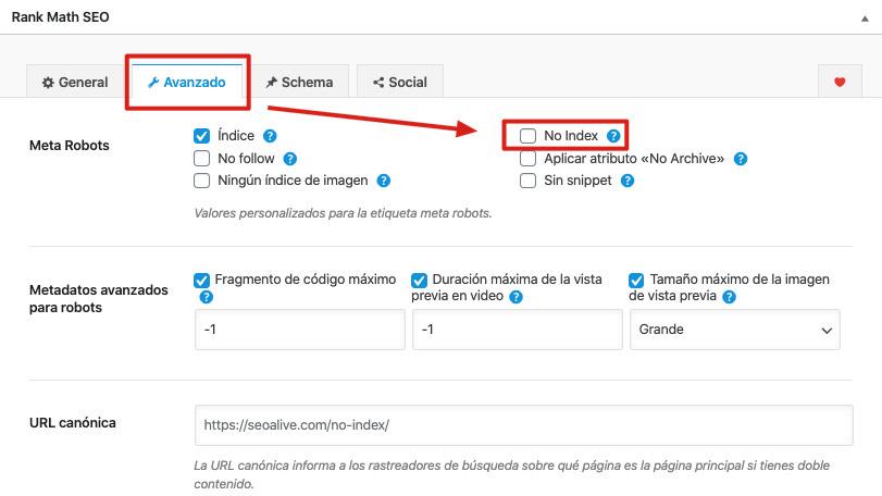 Cómo marcar noindex en WordPress
