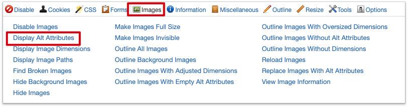 Configuración para poder ver los atributos ALT en la extensión Web Developer
