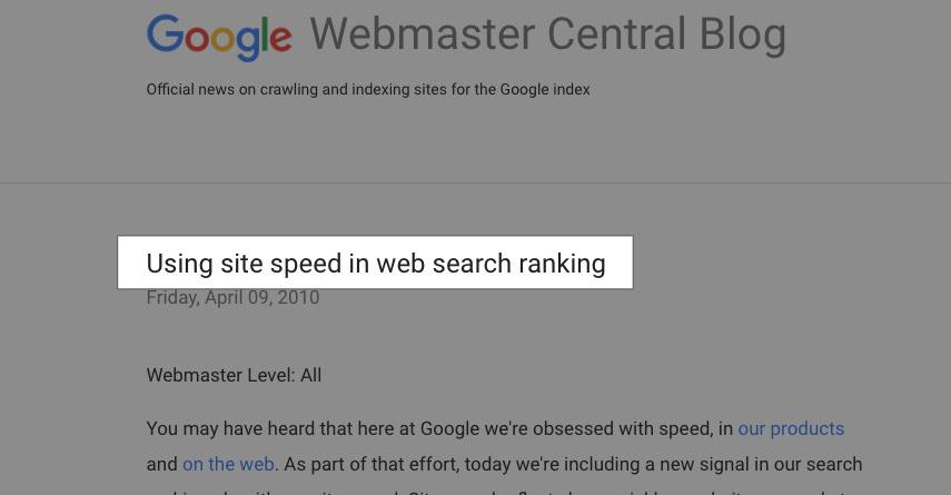 Velocidad como factor de ranking SEO
