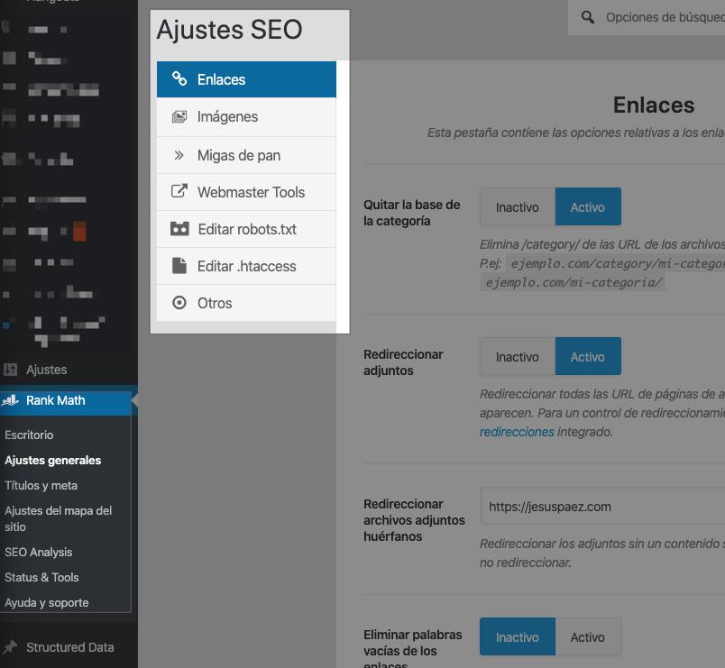 Ajustes adicionales del plugin SEO Rank Math