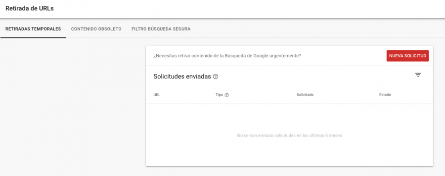 desindexar Urls Search Console