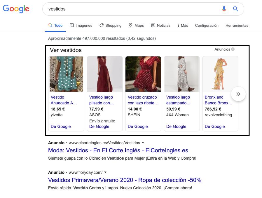 Anuncios de Google Shopping en las serps