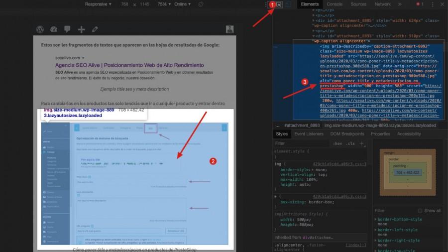 instrucciones para ver el atributo ALT con el inspeccionador de Chrome