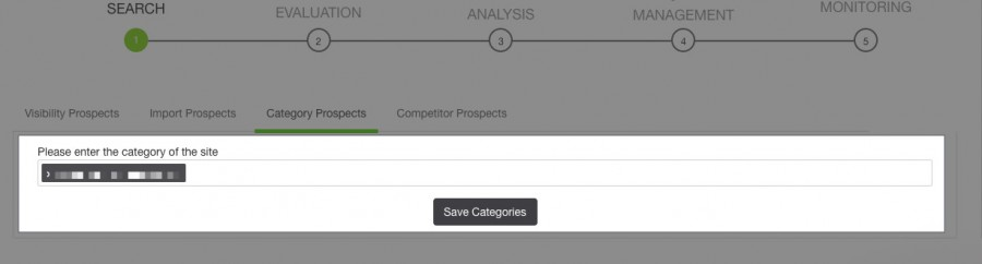 Apartado de Category Prospects en Link Affinity
