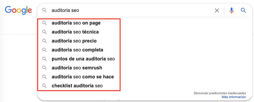El autocompletado de Google