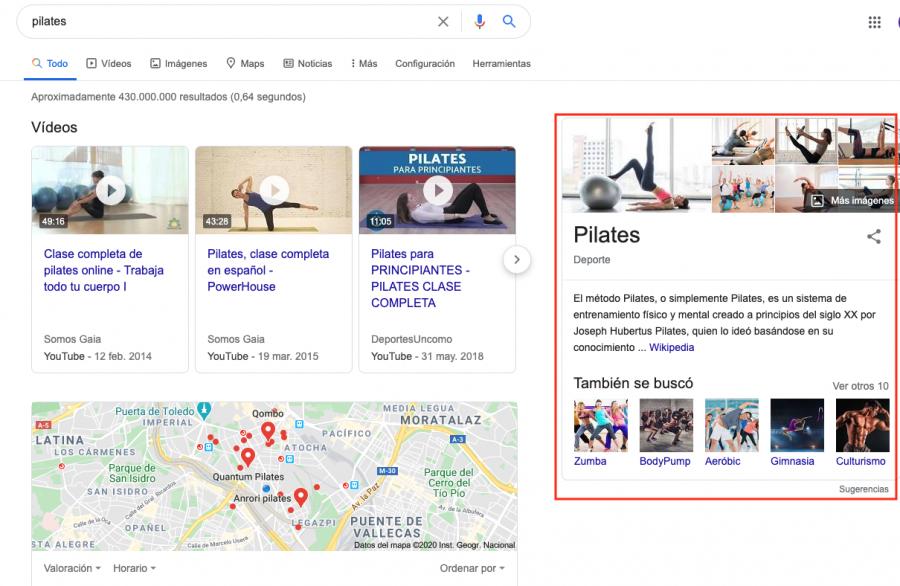 La casilla de sugerencias de Google