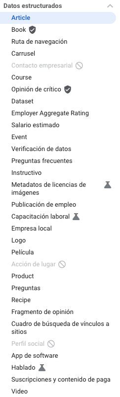Lista de datos estructurados oficiales de Google