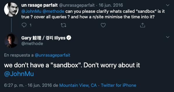 Tweet preguntando por la existencia de la Sandbox