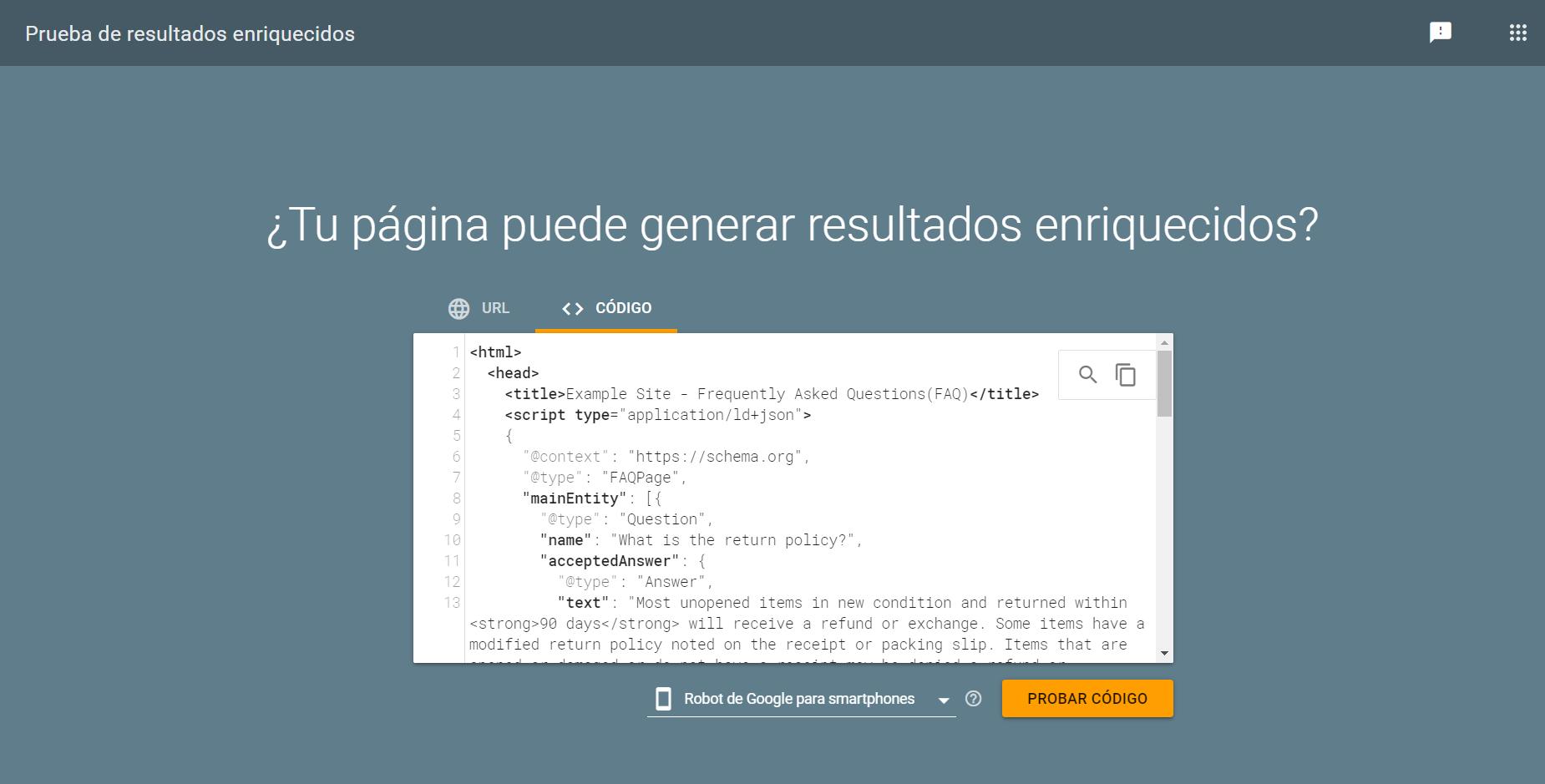 herramienta probador de datos estructurados de Google