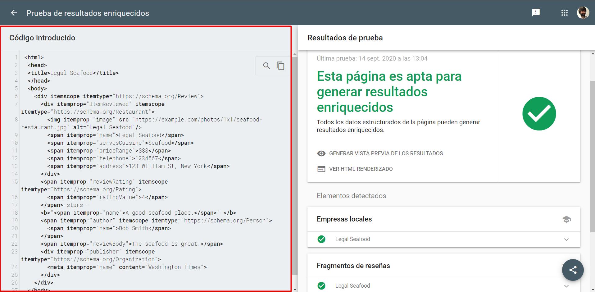 Microformatos en probador de datos estructurados de Google.